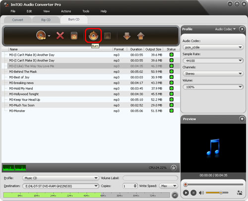 ImTOO Audio Converter Pro - Burn