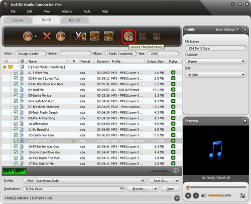 ImTOO Audio Converter Pro - Rip