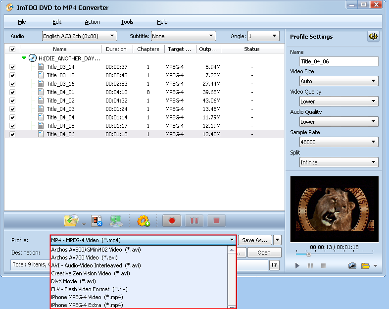 Guide - How to use ImTOO DVD to MP4 Converter