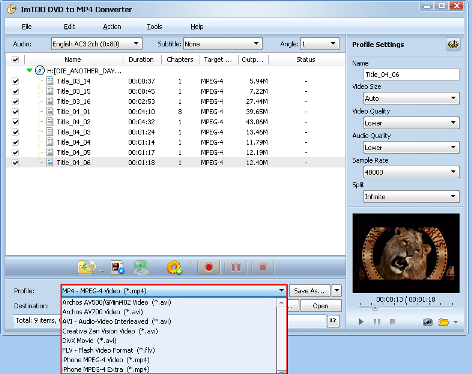 ImTOO DVD to MP4 Converter Guide - Select output format
