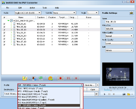 ImTOO DVD to PSP Converter Guide - Select output format