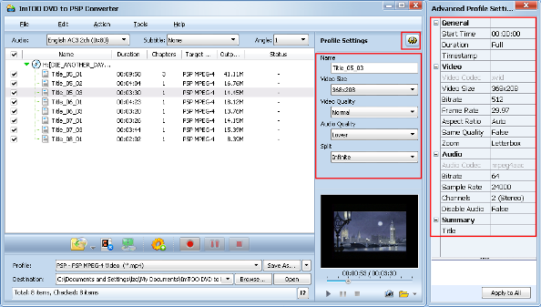 ImTOO DVD to PSP Converter Guide - Adjust output format