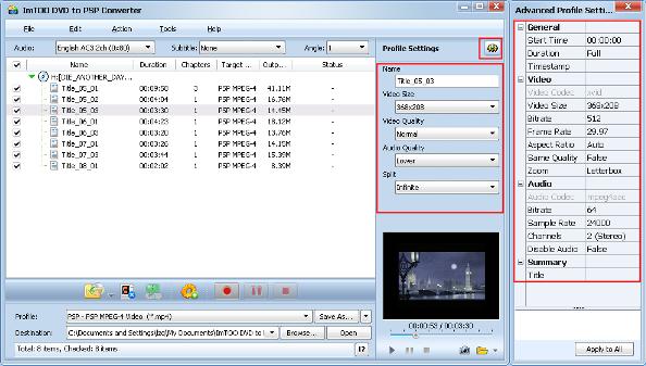 ImTOO DVD to PSP Converter Guide - Adjust output format