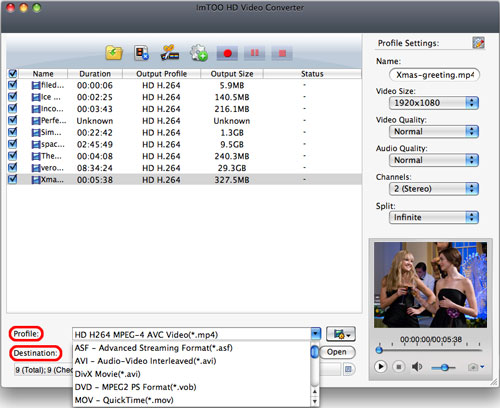 ImTOO HD Video Converter for Mac - output