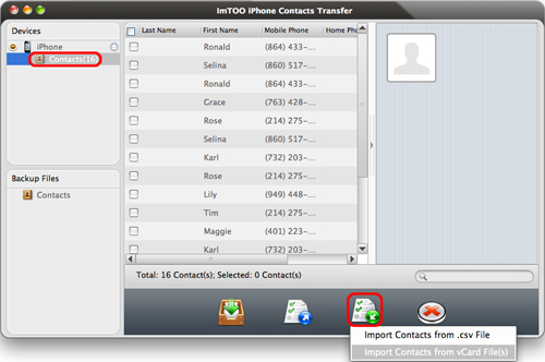 ImTOO iPhone Contacts Transfer for Mac Guide - Import contacts to iPhone