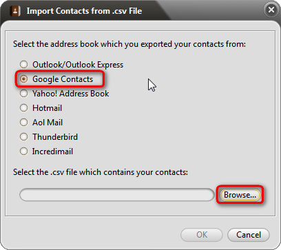 Choose google contacts to import