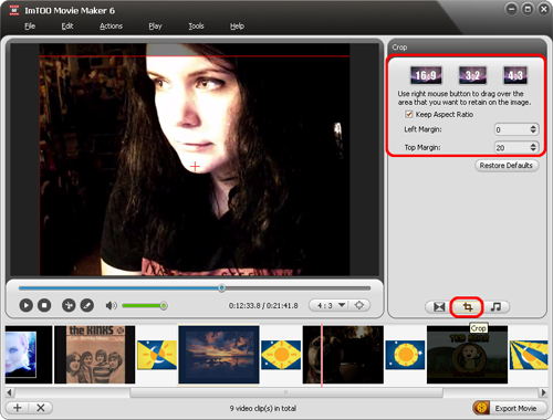 ImTOO Movie Maker - Crop